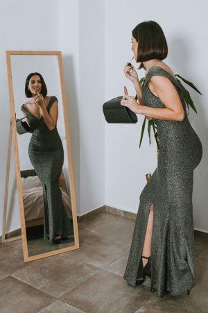 Ασημί maxi φόρεμα lurex