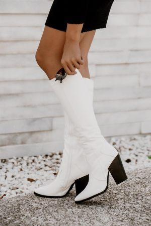 Μπότες Cowboy με Τακούνι Λευκό