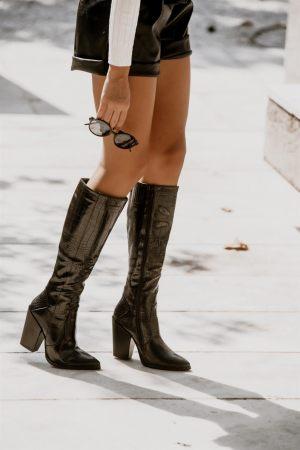 Μπότες Cowboy με Τακούνι Μαύρο