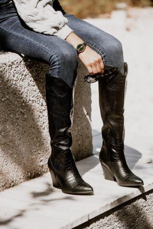 Μπότες Cowboy Κροκό με Τακούνι