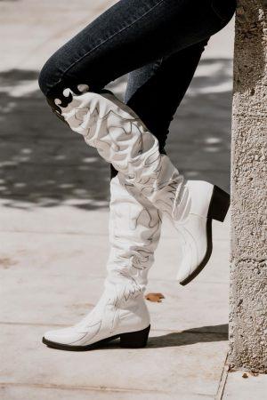 Cowboy Μπότες με Σούρα Λευκό