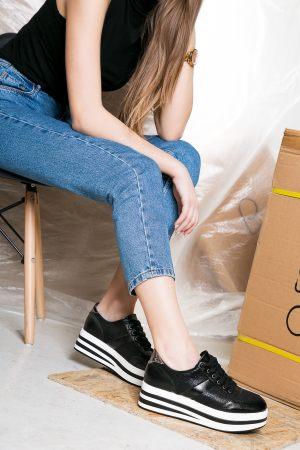 Ασπρόμαυρα γυναικεία παπούτσια casual από τα Olympic Stores
