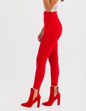 Κόκκινα γυναικεία μποτάκια με τακούνι
