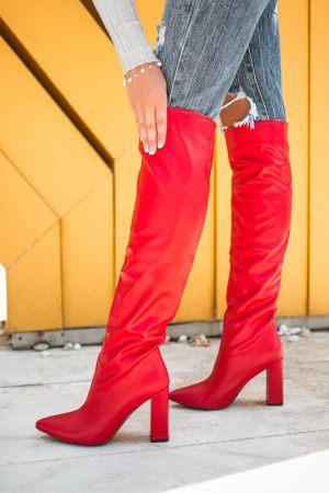 Κόκκινες Μπότες Over the Knee με Τακούνι