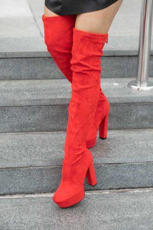 Κόκκινες Ψηλές Mπότες Over the Knee