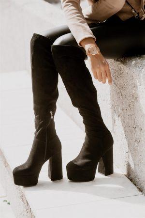 Μαύρες Ψηλές Μπότες Οver the Knee με Φιάπα