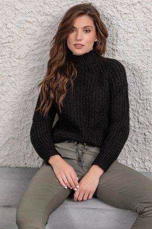 Μαύρη πλεκτή μπλούζα ζιβάγκο με χοντρή πλέξη