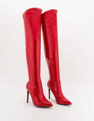 Κόκκινες vinyl μπότες πάνω από το γόνατο