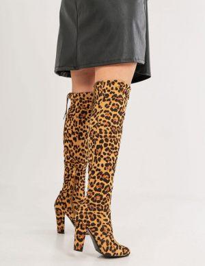 Ψηλές leopard μπότες over the knee