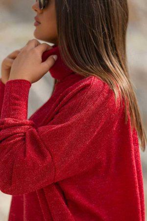 Κόκκινο πλεκτό μπλουζοφόρεμα