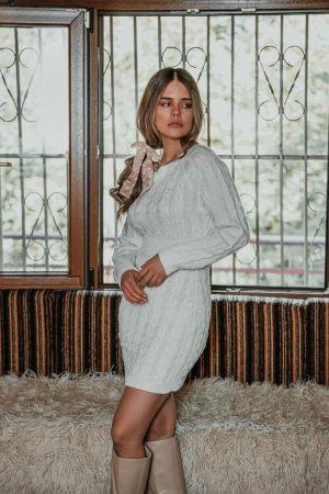 Λευκό Φόρεμα Πλεκτό