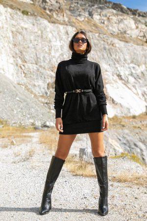 Μαύρο μπλουζοφόρεμα με ζώνη