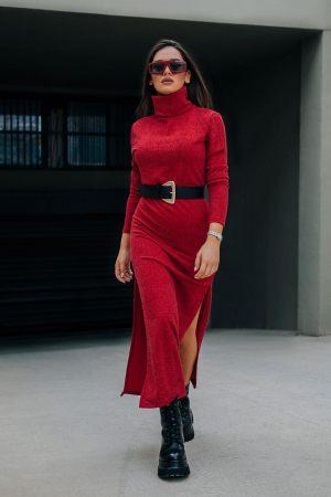 Μπορντό Φόρεμα Πλεκτό Ζιβάγκο