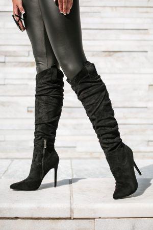 Μαύρες Ψηλές Μπότες με Σούρα