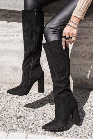 Μπότες με Χοντρό Τακούνι Μαύρες