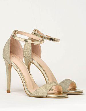 Γυναικείο πέδιλο χρυσό με λεπτό τακούνι και glitter